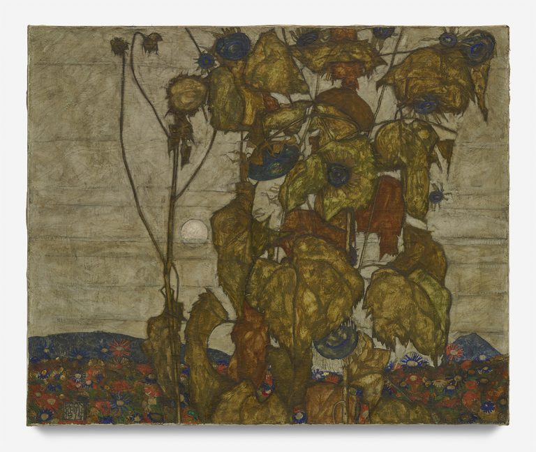 Egon Schiele Autumn sun Sunflowers 1914 Oil on can