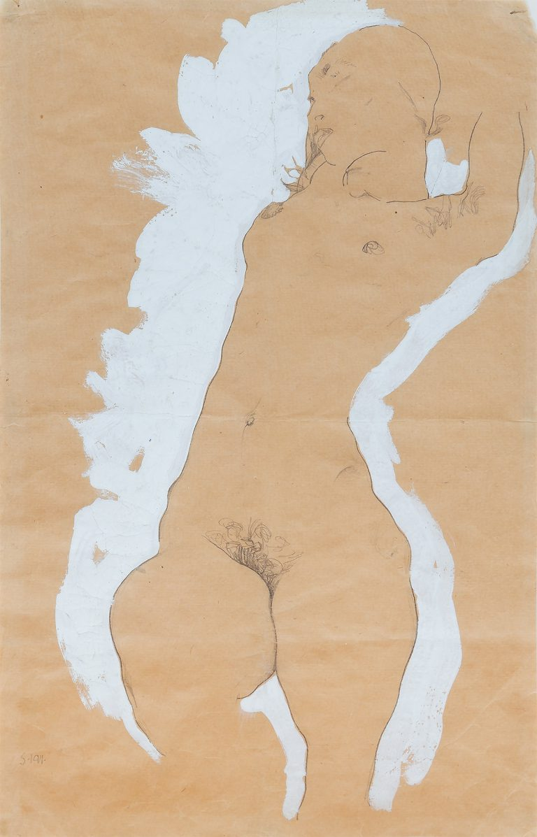 Egon Schiele Female Nude with WhiteBorder 1911 Go