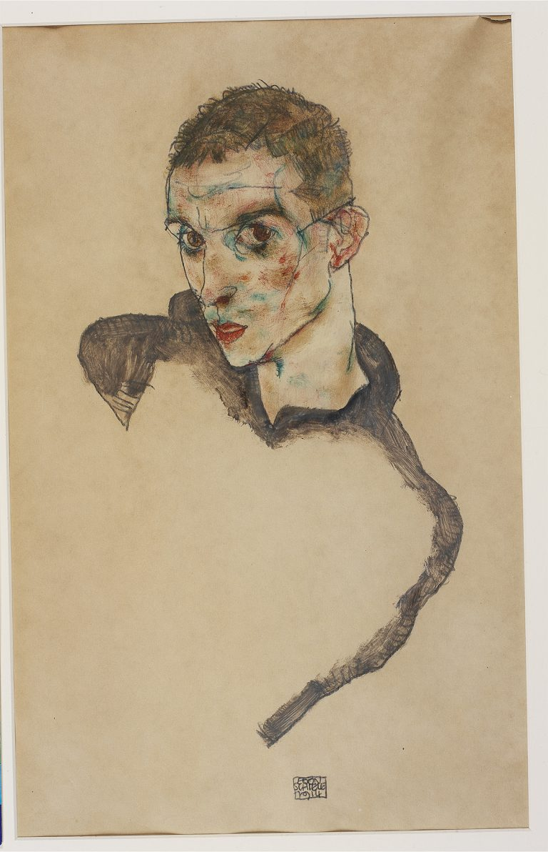 Egon Schiele Self Portrait 1914 Gouache watercolor and pencil on paper 47 306 cm mer Ko Picture Hadiye Cangke