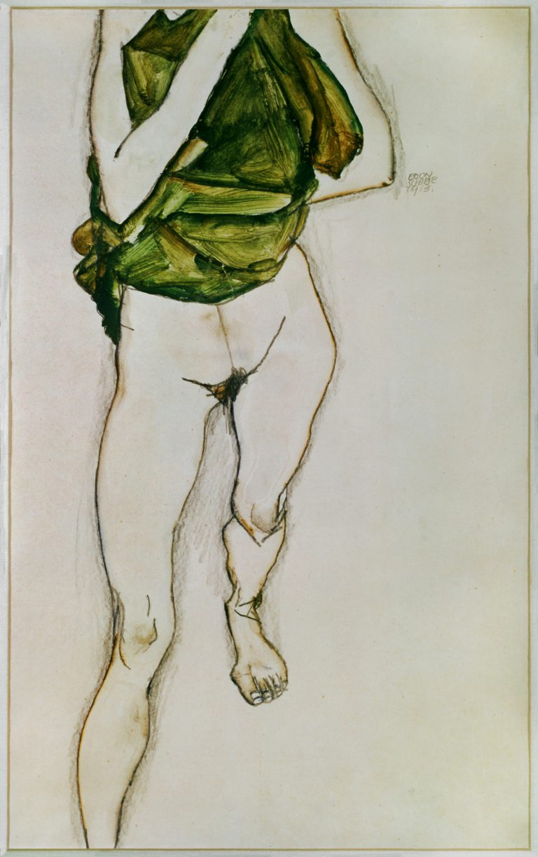 Egon Schiele Striding Torso in Green Blouse 1913