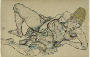 Egon Schiele Reclining Woman with Blonde Hair 1914
