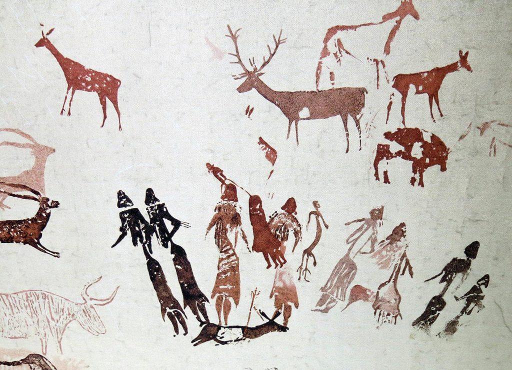Dona. Cova dels Moros. El Cogul (Garrigues) Calc de les pintures per a l'exposició. del Museu de Gavà.