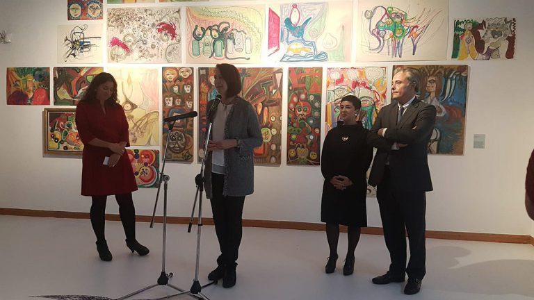 Inauguració de l'exposició al Museu d'Història, el passat 27 d'octubre. D'esquerra a dreta, la comissària, Lluïsa Faxedas; l'alcaldessa, Marta Madrenas; la directora del museu, Sílvia Planas, i el regidor de Cultura, Carles Ribas | Ajuntament de Girona