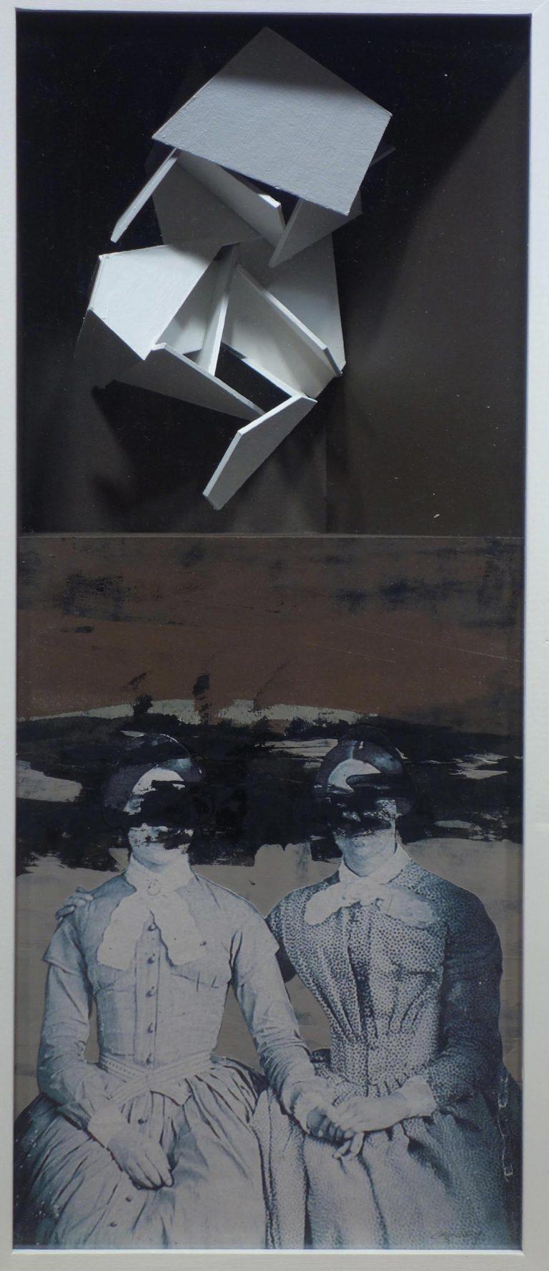 José Leguey: 'La relació', mixta i collage sobre paper (2013).