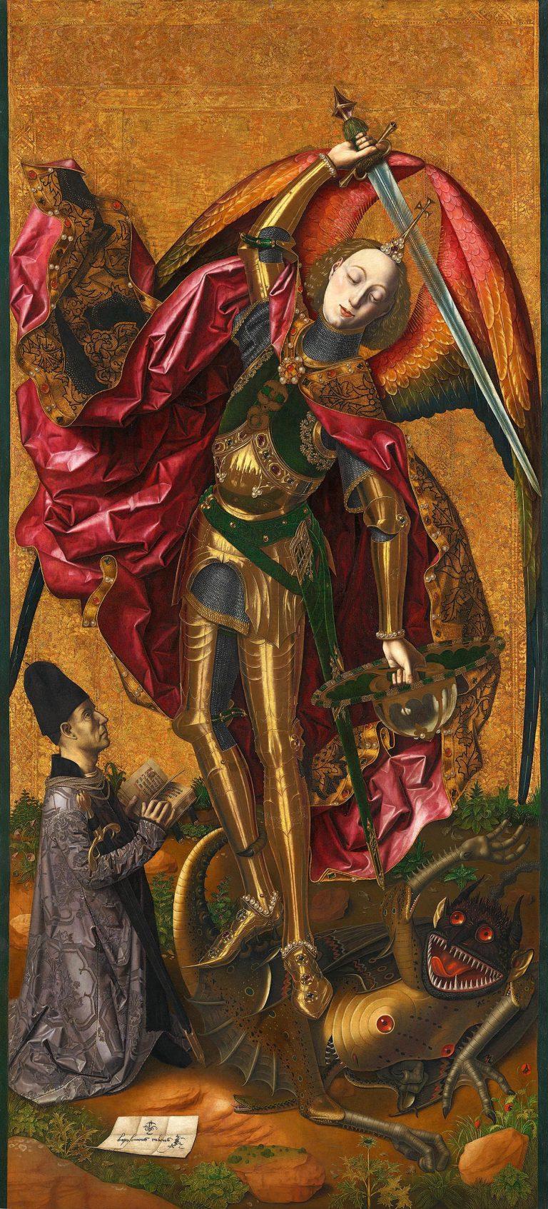 Bartolomé Bermejo, Sant Miquel, procedent de l'església de Tous (Valencia), 1468. National Gallery, Londres