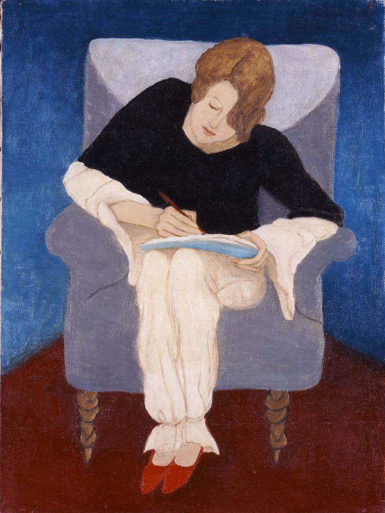 'Dona asseguda en una butaca, escrivint'
