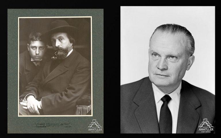 Retrats de Adolf i Pelai Mas (Estudi Napoleón, c. 1908) i de Josep Gudiol (Mòbil J.M.G. 388, 1964)