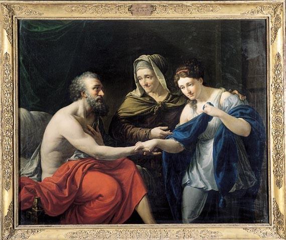 Vicent Rodes, Sara presentant Hagar l'egípcia al seu marit (1835), oli. Barcelona, Reial Acadèmia Catalana de Belles Arts de Sant Jordi