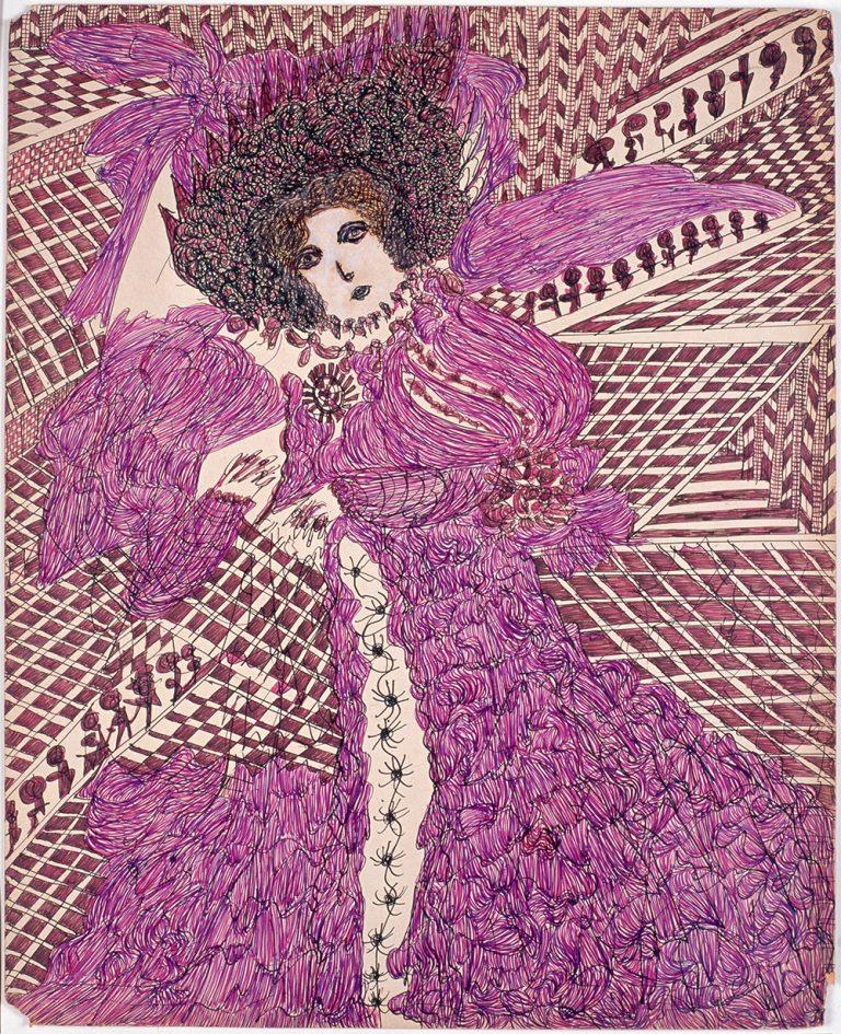Madge Gill, Sin título, 1954. Tinta de color y gouache sobre cartón, 102 x 70 cm. Colección LAM-Lille Métropole Musée d'art modern, d'art contemporain et d'art brut, Villeneuve d'Ascq. Donación de L'Aracine, 1999. © Foto: Alain Lauras