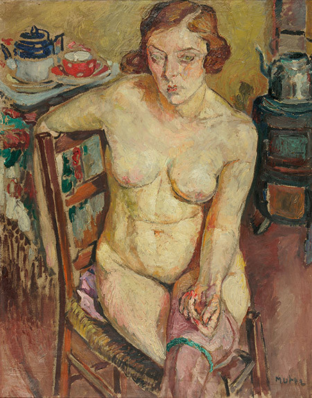 Mela Muter, Dona nua amb mitges. Oli sobre tela. 92 x 72 cm (Jankilevitsch Collection).