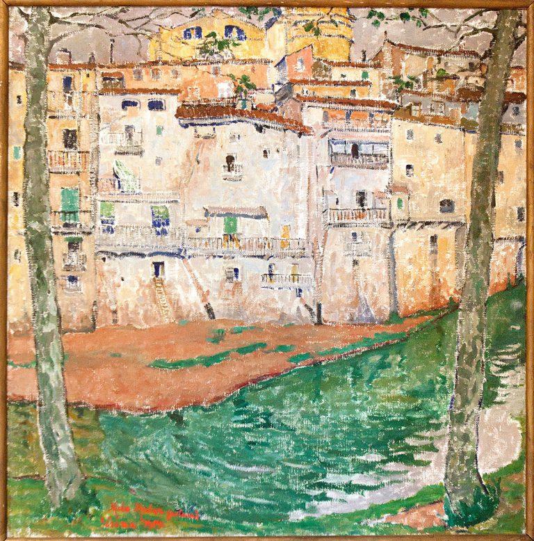 Mela Muter, L'Onyar a Girona (Vora al riu). Oli sobre tela. 102 x 100 cm (Museu d'Art de Girona).