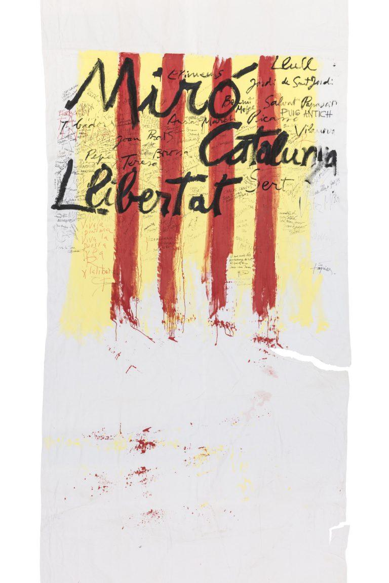 Antoni Tàpies. Llençol amb signatures de diverses persones, 1974. Mides variables.   Fundació Antoni Tàpies, Barcelona.