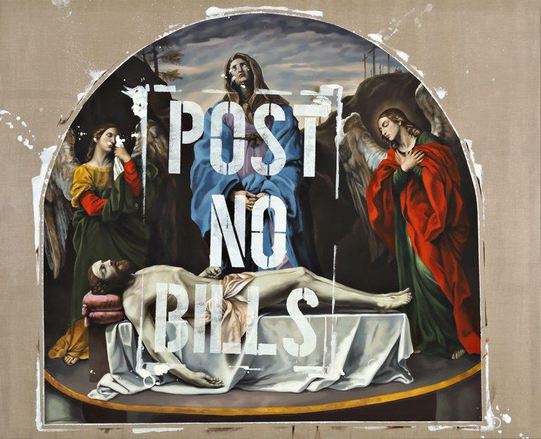 """Variació de """"La Pietà dei mendicanti"""" de Guido Reni (1). 2016, oli damunt tela, 270 x 335 cm"""