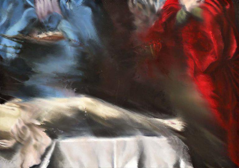 """Variació de """"La Pietà dei mendicanti"""" de Guido Reni (15). 2016, oli damunt tela, 120 x 170 cm."""