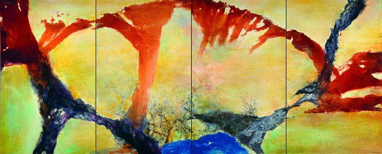 Zao Wou-Ki, Décembre 89 – février 90 - Quadriptyque, 1989-1990 Huile sur toile   162 x 400 cm   Collection particulière   Photo : Jean-Louis Losi   Zao Wou-Ki © ADAGP, Paris, 2018