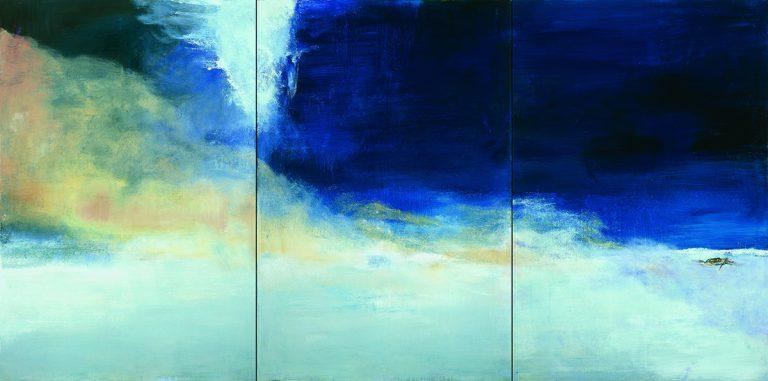 Zao Wou-Ki, Le vent pousse la mer, 2004 Huile sur toile   194,5 x 390 cm   Collection particulière   Photo : Dennis Bouchard   Zao Wou-Ki © ADAGP, Paris, 2018