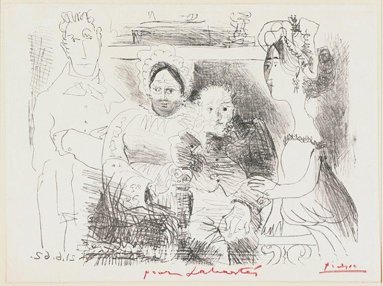 'Retrat de família. I, home amb els braços creuats '. Mougins, 21 de juny del 1962. Litografia. Llapis litogràfic sobre paper report transferit sobre planxa de zinc, estampat sobre paper vitel·la Arches amb filigrana (prova Sabartés). 56,5 x 75,5 cm . Museu Picasso, Barcelona. Donació Jaume Sabartés, 1966