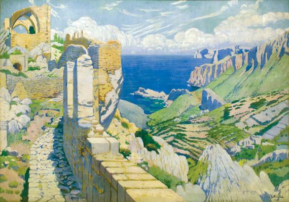 Santiago Rusiñol, Panoràmica des del Castell del Rei (1903), oli, 2'80 x 4'20. Col. Banc de Sabadell