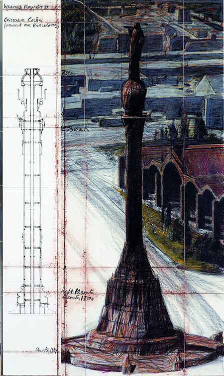 "'Christo. Wrapped Monument to Cristobal Colon (Project for Barcelona)', 1984. Tècnica mixta sobre paper. Col·lecció ""la Caixa"" d'Art Contemporani"