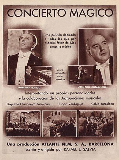 Cartell del film Concierto mágico, amb el pianista valencià Leopoldo Querol i el director català Joan Pich Santasusana