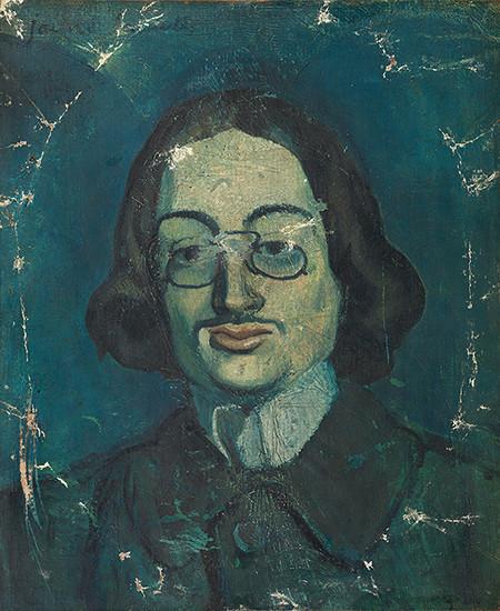 'Jaume Sabartés amb pinçanàs'. París, finals del 1901. Oli sobre tela.46 x 38 cm. Museu Picasso, Barcelona Donació Pablo Picasso, 1968.