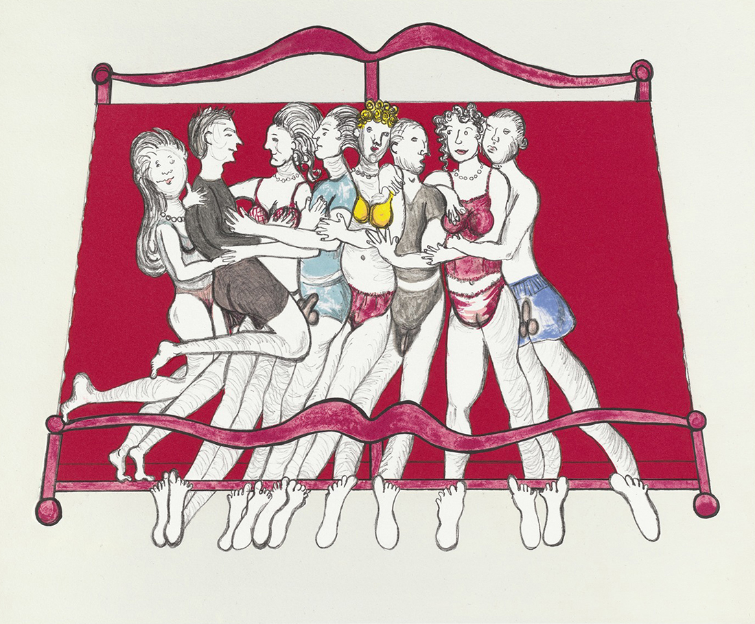 Louise Bourgeois, Eight in bed, 2000, litografía, 52 x 60 cm, ed. de 40