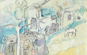 Manolo Hugué / La chapelle Saint-Paul, jour de fête / 1909 - 1913 / Aquarelle, crayon noir, encre brune sur papier vélin / 22,6 x 28,9 cm / Don de Mme Marie Gertrude Jeanine Aribaud en 1950