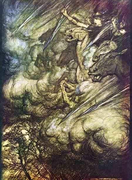 Pintura que representa les accions de les valquíries, d'Arthur Rackham