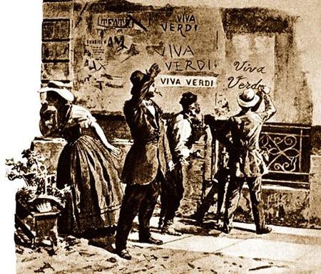 Il·lustració on es representa a la gent pintant 'Viva V.E.R.D.I.' a les parets