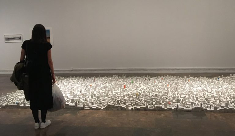 Visitant davant l'obra de Rayyane Tabet 'Architecture Lessons 2013-16'