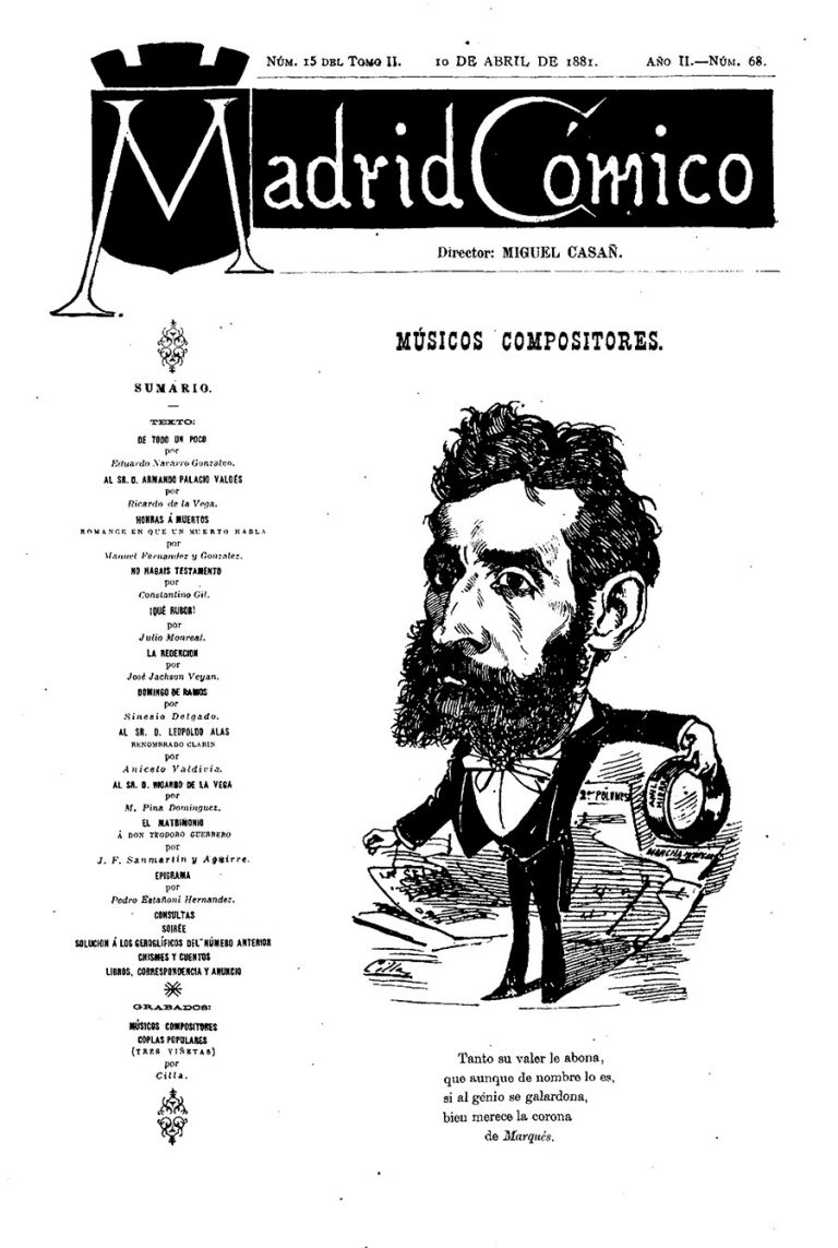 "Caricatura de Marquès a ""Madrid Cómico"", dins la collecció de ""Músicos compositores"" del 10 d'abril de 1881."