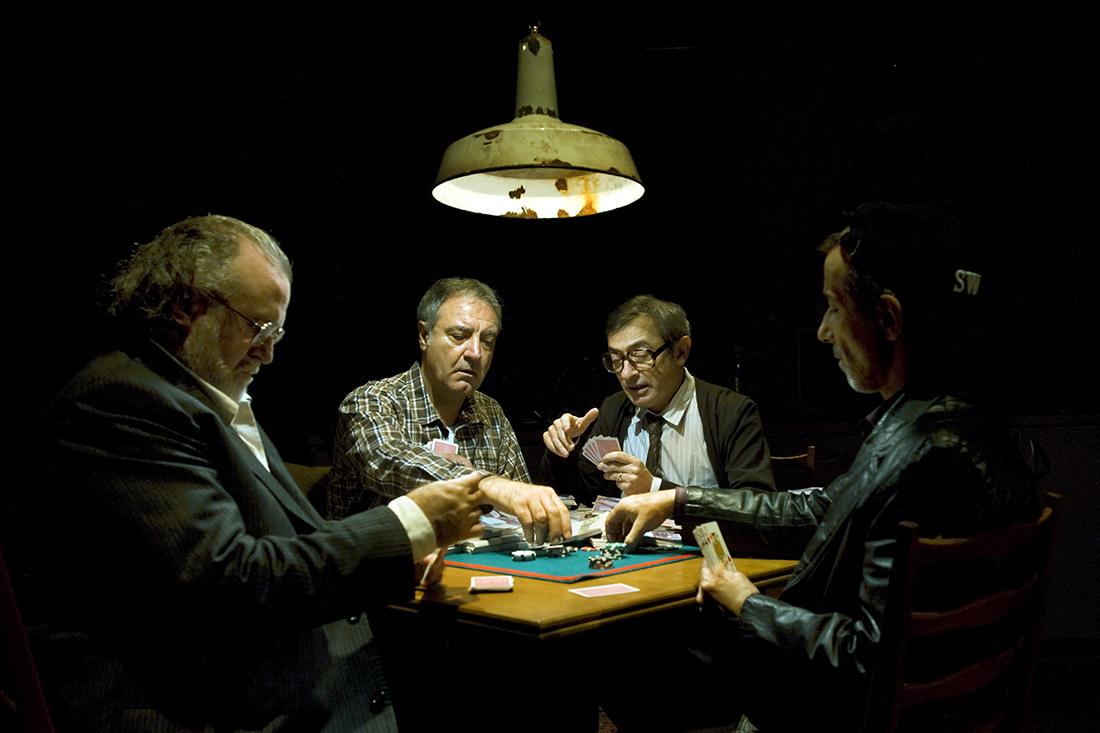 Andreu Benito, Jordi Bosch, Boris Ruiz i Jordi Boixaderas, a 'Els jugadors', estrenat al Teatre Lliure el 2012