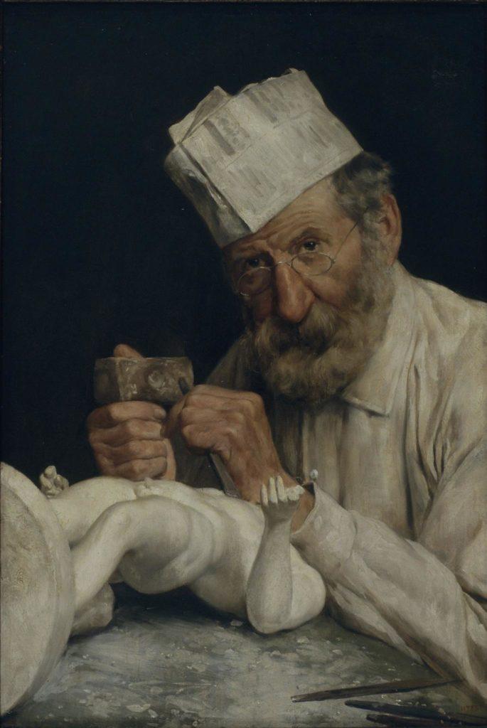 Antoni Fabrés. L'escultor, cap a 1910. Detall. Donació de l'artista, 1925. Museu Nacional d'Art de Catalunya