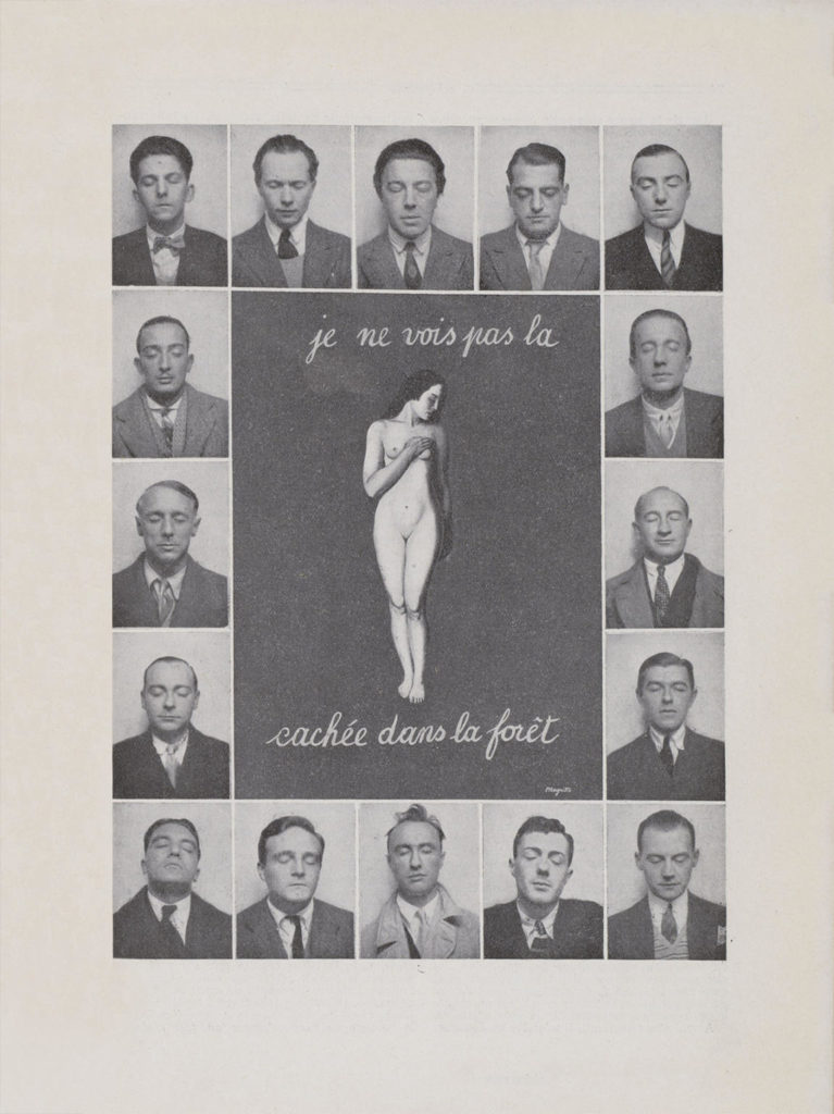 "Fotomuntatge amb els retrats de photomaton del grup surrealista al voltant d'un nu de Magritte i la llegenda ""Je ne vois pas la [femme] cachée dans la forêt"", 1929"