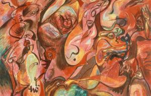 André Masson, Engloutissement, 1968 Huile sur toile, 130 x 162 cm Musée d'art moderne de la Ville de Paris Crédit photo : Jean-Yves Trocaz / Parisienne de Photographie / Roger-Viollet © Adagp, Paris 2019
