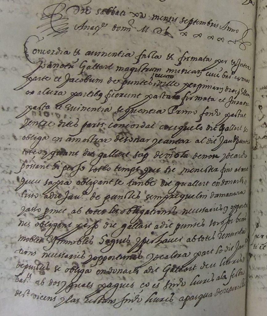 Document notarial que parla sobre música Font habitual dels historiadors de la música