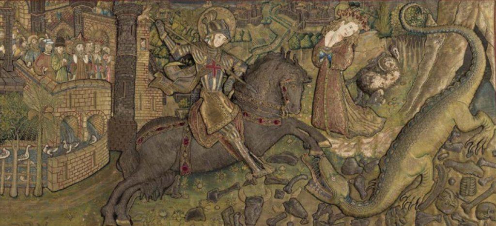 Frontal de l'altar de sant Jordi encarregat per la Diputació del General, per a la capella homònima del Palau de la Generalitat de Catalunya. Antoni Sadurní. 1450-1451. GC