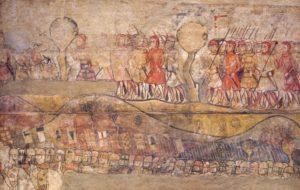 Detall de les pintures murals de l'antic Palau Reial, amb representació de la conquesta de Mallorca. Darrer quart del segle XIII. MUHBA