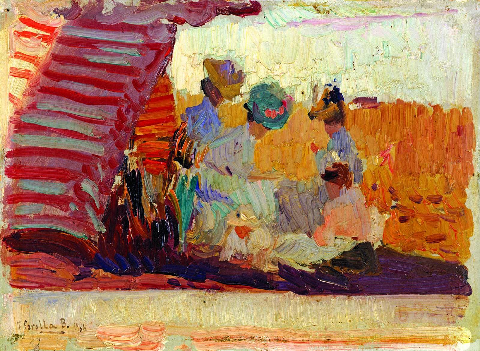 Joaquim Sorolla, Platja de Biarritz, 1906. Oli sobre cartró, 16 x 22 cm