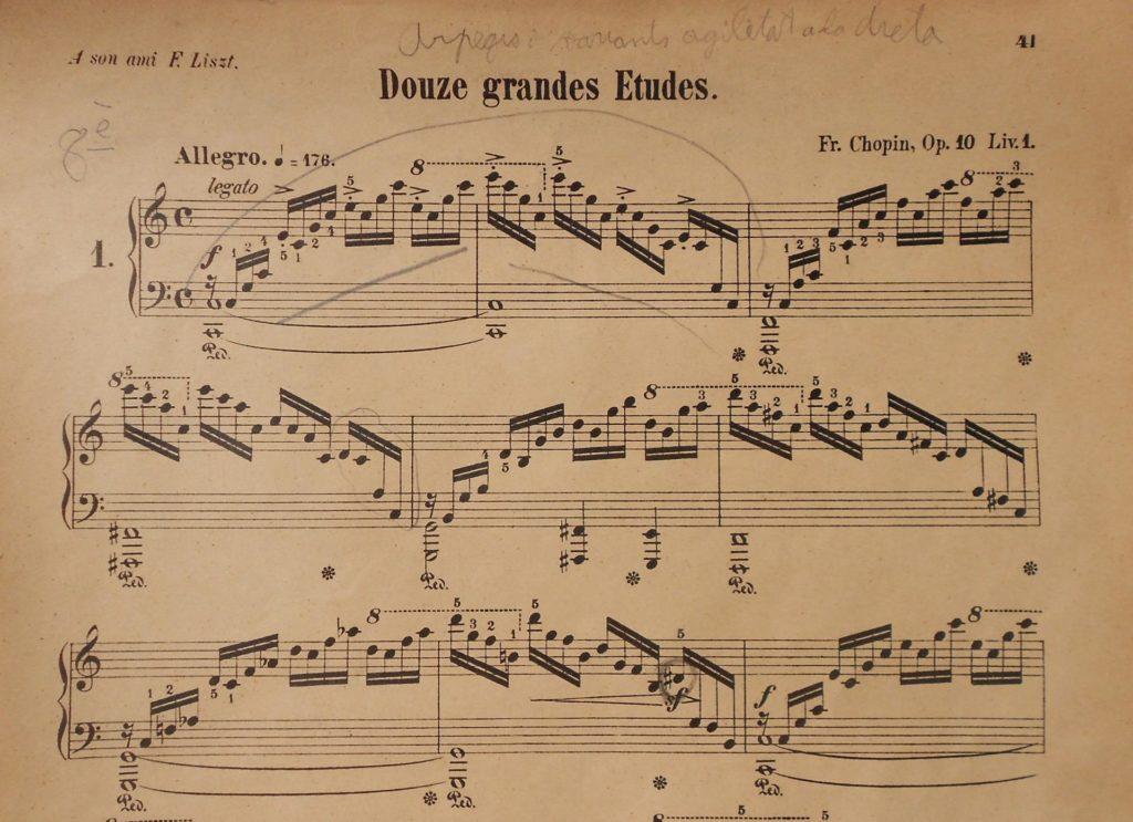 Inici de l'estudi n.1 de Chopin