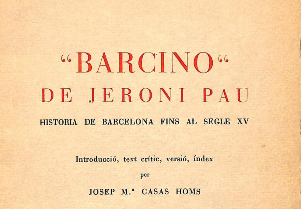 L'incunable 'Barcino', de Jeroni Pau