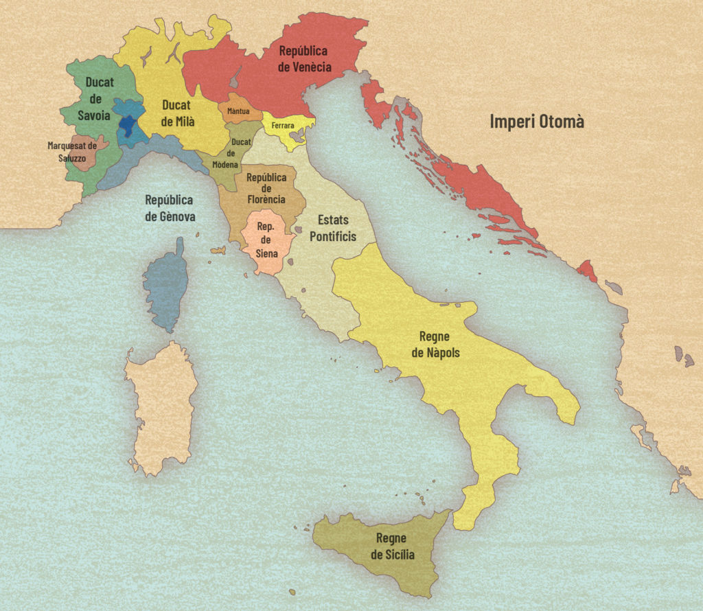 Mapa polític de la península itàlica el 1494.