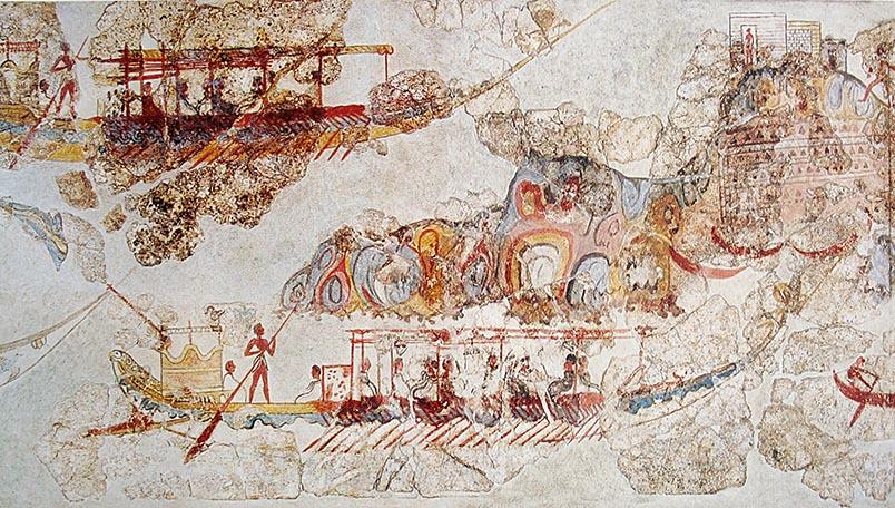Akrotiri, processo de vaixells