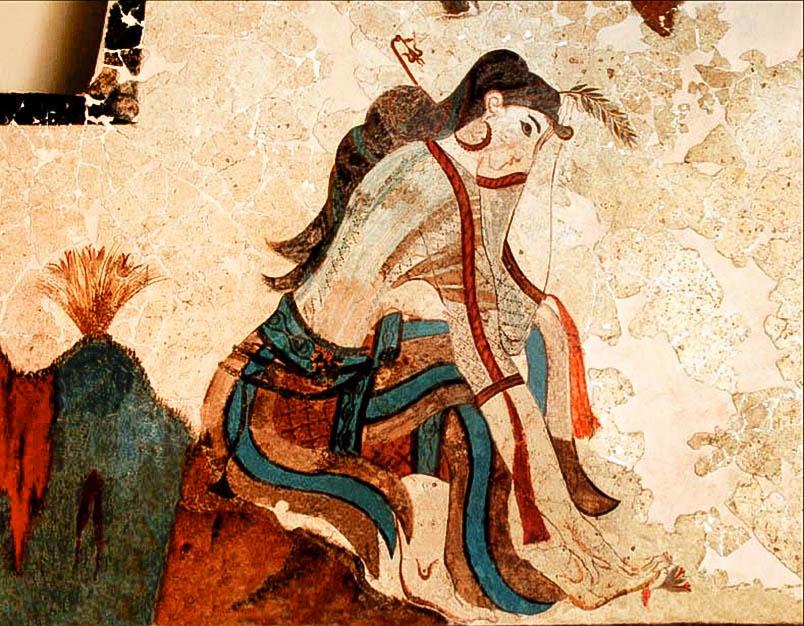 Akrotiri. Dona recollint safrà
