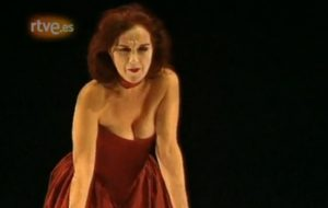 Anna Lizaran fent el 'Quartett' de Heiner Müller al Lliure, el 1994. Foto: TVE