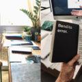 """Blanca Viñas, autora de """"Tractat de fotografia desobedient"""", en una sessió de treball amb els editors i fotògrafs Ignasi López i Roman Yñán, on es pot llegir una frase d'un llibre de l'artista i dissenyador holandès Erik Kessels."""