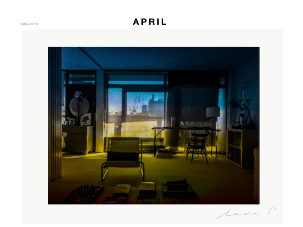 Fotografia de Marine Hugonnier de la sèrie del confinament del diumenge 12 d'abril. Climatic Politic Cinematographic Erotic Diary.