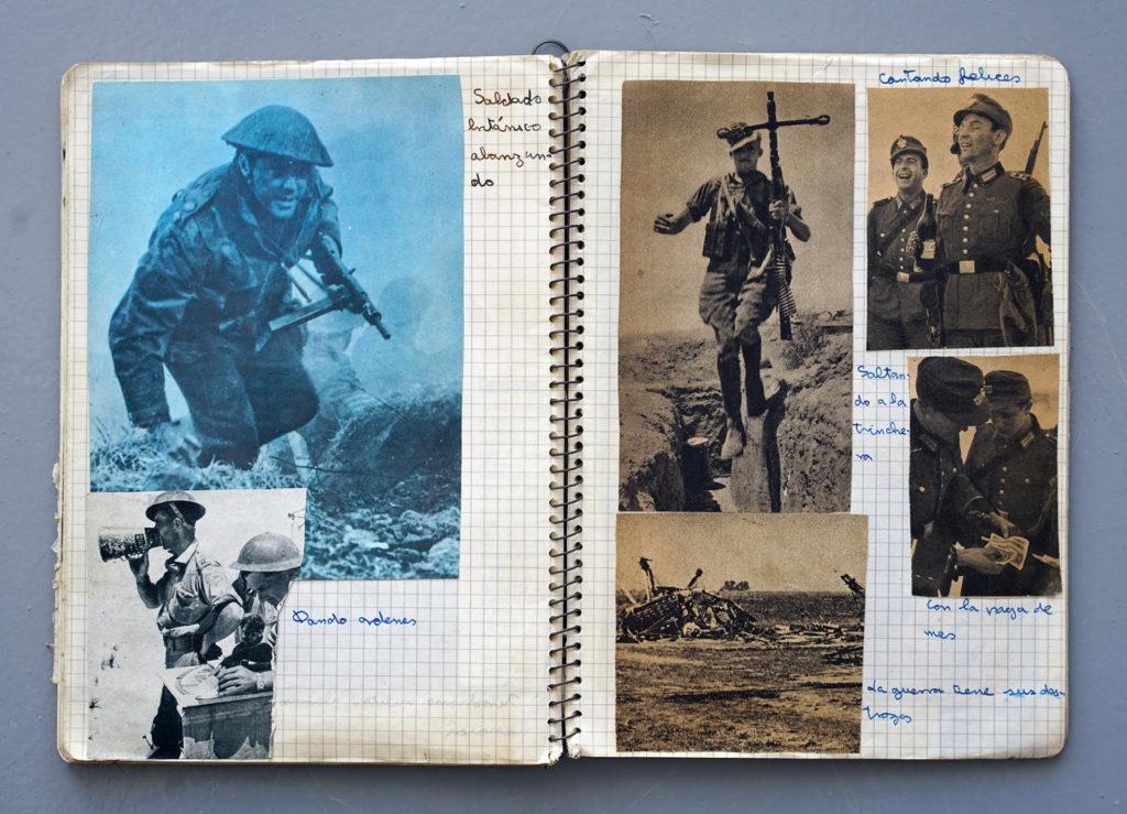 Quaderns bèl·lics dels anys 1965 i 1966 de quan Joan Fontcuberta tenia deu anys.