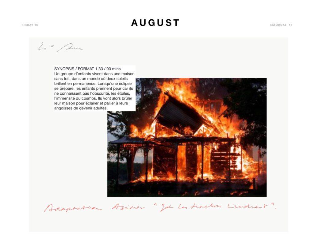 Pàgina del diari dels dies 16 i 17 d'agost de 2019 que correspon als dies del rodatge del film Antonio Negri amb la paràbola que Marine Hugonnier posà al filòsof.