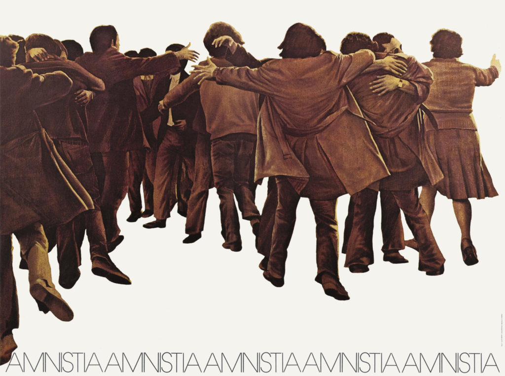 Cartell realitzat per JuanGenovés, a petició de la Junta Democràtica per a demanar l'amnistia dels presos el 1976. © Juan Genovés.